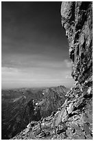 Grand Teton headwall profile from Upper Saddle. Grand Teton National Park ( black and white)