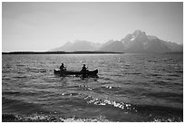 Canoists, Colter Bay and Mt Moran. Grand Teton National Park ( black and white)