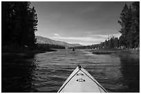 Kayak pointing at narrow channel, Colter Bay. Grand Teton National Park ( black and white)