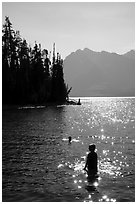Late afternoon swim, Colter Bay. Grand Teton National Park ( black and white)
