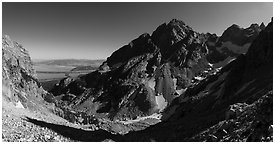 Garnet Canyon and Middle Teton. Grand Teton National Park (Panoramic black and white)