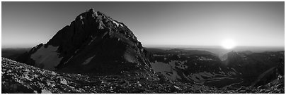 Middle Teton and sun setting from Lower Saddle. Grand Teton National Park (Panoramic black and white)