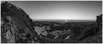 View from from Lower Saddle with Middle Teton and sun setting. Grand Teton National Park (Panoramic black and white)