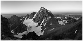 Middle Teton and Lower Saddle from Grand Teton at sunrise. Grand Teton National Park (Panoramic black and white)