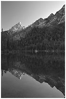 Leigh Lake with Tetons reflected, sunset. Grand Teton National Park, Wyoming, USA. (black and white)