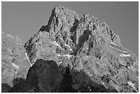 Tetons summit at sunset seen from the North. Grand Teton National Park ( black and white)