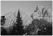 Mt Owen and Tetons at sunset seen from the North. Grand Teton National Park ( black and white)