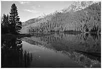 String Lake and Tetons, sunrise. Grand Teton National Park ( black and white)