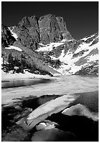Ice break-up in Emerald Lake and Hallet Peak, early summer. Rocky Mountain National Park, Colorado, USA. (black and white)