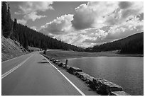 Trail Ridge Road and Poudre Lake. Rocky Mountain National Park, Colorado, USA. (black and white)