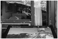Interpretative sign and Alpine Visitor Center window reflexion. Rocky Mountain National Park, Colorado, USA. (black and white)