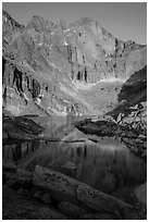 Longs Peak and Chasm Lake at sunrise. Rocky Mountain National Park, Colorado, USA. (black and white)