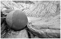 Cannonball concretion, North Unit. Theodore Roosevelt National Park, North Dakota, USA. (black and white)