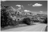 Scenic drive and colorful badlands, North Unit. Theodore Roosevelt National Park, North Dakota, USA. (black and white)