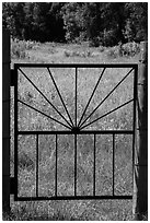 Entrance gate to Elkhorn Ranch homestead. Theodore Roosevelt National Park, North Dakota, USA. (black and white)
