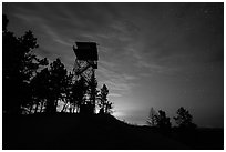 Lookout tower at dusk, Rankin Ridge. Wind Cave National Park, South Dakota, USA. (black and white)