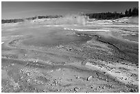 Green and red algaes in Norris geyser basin. Yellowstone National Park, Wyoming, USA. (black and white)
