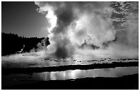 Great Fountain geyser eruption. Yellowstone National Park, Wyoming, USA. (black and white)