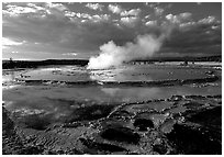 Great Fountain geyser. Yellowstone National Park, Wyoming, USA. (black and white)