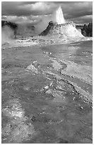 Castle Geyser in Upper Geyser Basin. Yellowstone National Park, Wyoming, USA. (black and white)