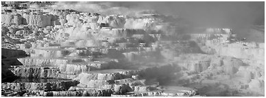 Thermal travertine terraces. Yellowstone National Park (Panoramic black and white)