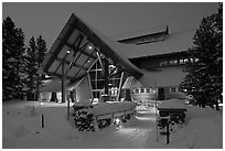 New Visitor Center at night. Yellowstone National Park, Wyoming, USA. (black and white)