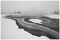 Mirror Pool, snow and steam. Yellowstone National Park, Wyoming, USA. (black and white)