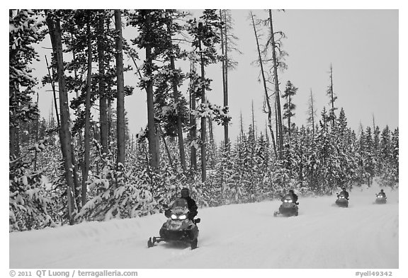 Snowmobilers. Yellowstone National Park, Wyoming, USA.