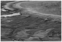 Grand Prismatic Spring detail from above. Yellowstone National Park ( black and white)