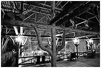 Wooden structures inside Old Faithful Inn. Yellowstone National Park, Wyoming, USA. (black and white)