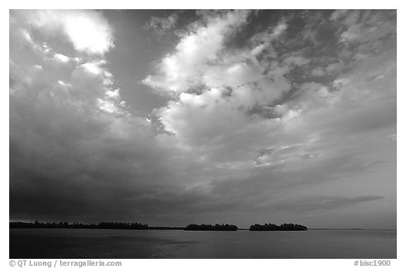 Small islands in Biscayne Bay near Convoy Point, sunset. Biscayne National Park (black and white)