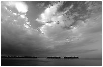 Small islands in Biscayne Bay near Convoy Point, sunset. Biscayne National Park, Florida, USA. (black and white)