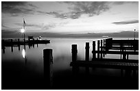 Elliott Key harbor, dusk. Biscayne National Park, Florida, USA. (black and white)