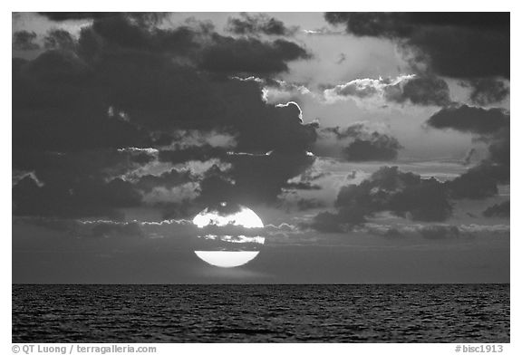 Sun rises over the Atlantic ocean. Biscayne National Park (black and white)