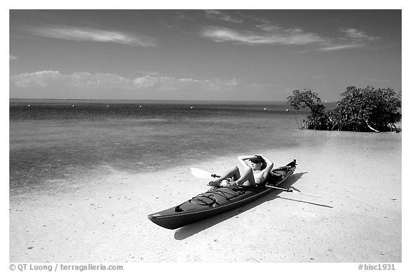Kayaker relaxing on Elliott Key. Biscayne National Park (black and white)