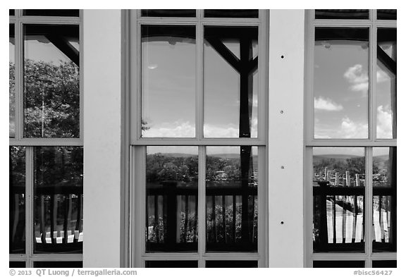 Biscayne Bay, visitor center window reflexion. Biscayne National Park (black and white)