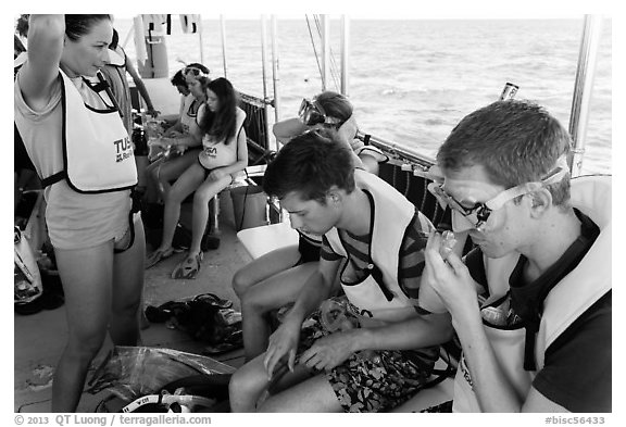 Snorklers getting ready on boat. Biscayne National Park (black and white)