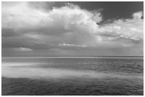 Sand bars, light and clouds, Atlantic Ocean. Biscayne National Park ( black and white)