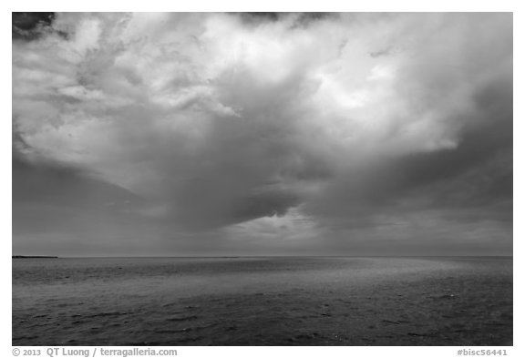 Storm cloud over ocean. Biscayne National Park (black and white)