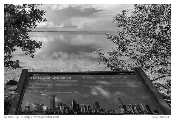 interpretive sign, Miami in the distance. Biscayne National Park (black and white)
