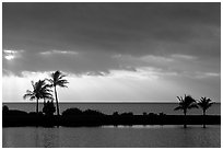 Stormy sunrise over Biscayne Bay from Bayfront Park. Biscayne National Park, Florida, USA. (black and white)