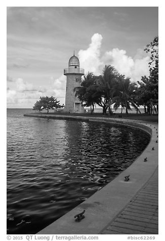 Harbor and lighthouse, Boca Chita Key. Biscayne National Park (black and white)