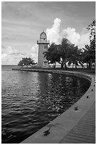 Harbor and lighthouse, Boca Chita Key. Biscayne National Park ( black and white)