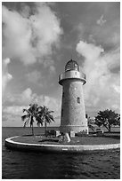 Lighthouse and cannon, Boca Chita Key. Biscayne National Park ( black and white)