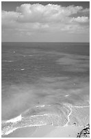 Open ocean view with beach, turquoise waters and surf. Dry Tortugas National Park ( black and white)