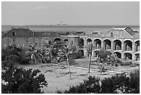 Inside Fort Jefferson. Dry Tortugas National Park ( black and white)