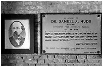 Plate commemorating Dr Mudd's imprisonment. Dry Tortugas National Park ( black and white)