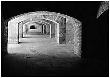 Arches in Fort Jefferson. Dry Tortugas  National Park ( black and white)