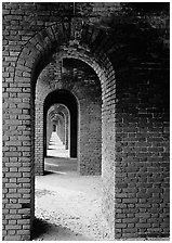 Arches on the second floor of Fort Jefferson. Dry Tortugas  National Park ( black and white)