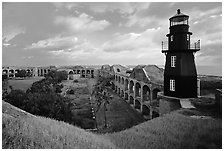 Fort Jefferson lighthouse, dawn. Dry Tortugas  National Park ( black and white)